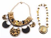 Sale 8550F - Lot 56 - Two fancy necklaces in gilt and animal print style.