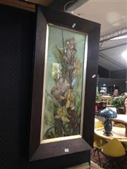 Sale 8767 - Lot 2077 - Framed Painting on Glass of Flowers