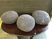 Sale 9051 - Lot 1079 - Set of 3 Orson and Blake Fabric Ottomans