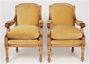 Sale 9087H - Lot 57 - A good pair of Antique French Bergère's with original gilding