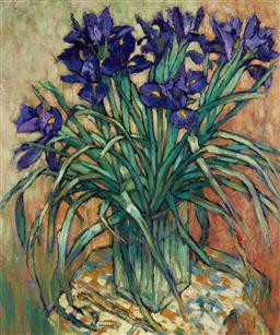 Sale 9141 - Lot 512 - Fu Hong (1946 - ) Still Life with Irises oil on canvas 63 x 53 cm (frame: 84 x 74 x 5 cm) signed lower left