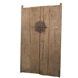 Sale 9245T - Lot 61 - A pair of antique Chinese elm doors, with metal hardware. Dimensions: H 180 x W 105 x D7cm