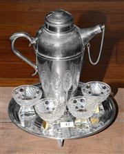 Sale 8088A - Lot 47 - Art Deco silver plate cocktail shaker with an Art Deco tri footed tray & 4 cocktail glasses