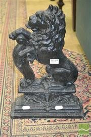 Sale 8267 - Lot 1049 - Cast Iron Door Stop of a Rampant Lion