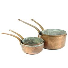 Sale 8351A - Lot 58 - Set of Four Graduated French Copper Saucepans diameter 20-28cm depth 10-14cm(approx weight 9.5kg)