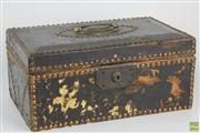 Sale 8645D - Lot 55 - Leather Antique English Riveted Money Box