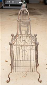 Sale 8550H - Lot 249 - A small wire birdcage with legs and hook, H60cm