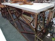Sale 8589 - Lot 1017 - Marble Top Metal Based Hall Table (91 x 180 x 50cm)