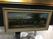 Sale 8690 - Lot 2054 - W. McMahon - Country Scene with Cottages and Figure by the Pond, 1867, oil on board, 28 x 56cm, signed and dated lower left