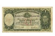 Sale 8712 - Lot 314 - COMMOMWEALTH OF AUSTRALIA ONE POUND BANKNOTE; King George VI, Armitage /McFarlane, H/70 - 659780.
