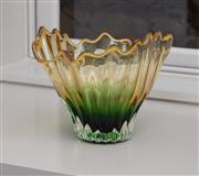 Sale 8782A - Lot 98 - A green and yellow glass handkerchief vase. Height 20cm