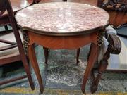 Sale 8868 - Lot 1086 - Louis XV Style Occasional Table, with marble top, brass collar & mounts, on cabriole legs with sabots