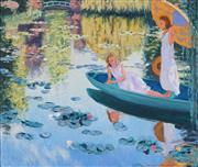 Sale 8901 - Lot 501 - Patrick Russell - On the Lily Pond 70 x 82.5 cm