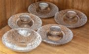 Sale 8942H - Lot 100 - A set of four Orrefors tea lights together with a bowl