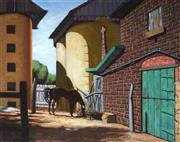 Sale 9013A - Lot 5031 - Attributed to Tempe Manning (1894 - 1960), - Stud Farm Stable Yard, Victoria, 1951 59.5 x 75 cm (frame: 81 x 96 x 5 cm)