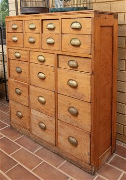 Sale 9120H - Lot 246 - A pine chest of twenty drawers, Height 100cm x Width 90cm x Depth 30cm