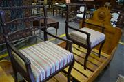 Sale 8093 - Lot 1828 - Pair of Antique Style Timber & Brass Inlayed Armchairs