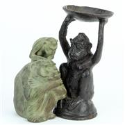 Sale 8390A - Lot 45 - Metal Monkey Oil Burner with a Ceramic Monkey Figure