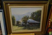 Sale 8495 - Lot 2059 - M.Rea Country Cottage, Oil on Board, Frame Size 71x82cm SLL