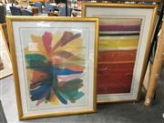 Sale 8659 - Lot 2122 - Pair of Framed Decorative Abstract Prints, 140 x 94;102 x 126cm (frame sizes)