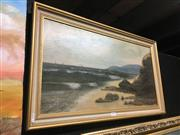 Sale 8690 - Lot 2066 - P. Jameson - Beach Scene and Tall Ships in the Distance, 1879 oil on board, 41.5 x 71.5cm, signed and dated lower left
