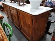Sale 8717 - Lot 1026 - French Oak Farmhouse 4 Door Sideboard with 4 Drawers and Marble Top