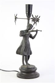 Sale 8827D - Lot 13 - Bronze Art Deco Lady Playing Violin Lamp  H:35cm
