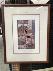 Sale 8990 - Lot 2004 - Harold Burrows, Cottage Cat I, handcoloured etching, ed. a/p. frame, 68 x 53 cm. signed lower right