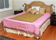 Sale 9020H - Lot 94 - A king size bed in the French Empire taste with gilt cane bedhead includes all bedding