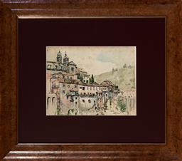 Sale 9123 - Lot 2075 - Gladys Mary Owen (1889 - 1960) Town of Nemi, Near Rome, 1957 watercolour 22.5 x 29.5 cm (frame: 54 x 61 x 3 cm) signed and dated low..