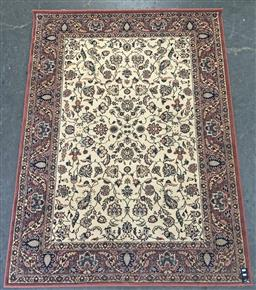 Sale 9108 - Lot 1066 - Persian red and cream tone carpet depicting flowers (225 x 171cm)