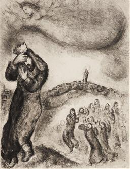 Sale 9161 - Lot 600 - MARC CHAGALL (1887 - 1985) David Climbing the Mount of Olives etching, ed. 77/250 32 x 24 cm (frame: 61 x 55 x 2 cm) signed lower ri...