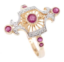 Sale 9169 - Lot 346 - A 9CT GOLD EDWARDIAN INSPIRED RUBY AND DIAMOND RING; pierced radiating top set with 3 round cut rubies to fancy surround of round br...