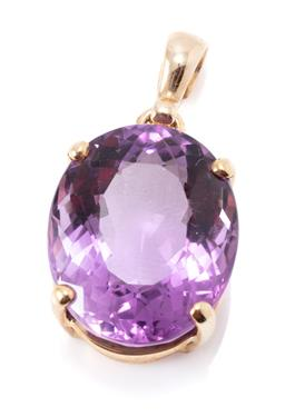 Sale 9182 - Lot 346 - A 9CT GOLD AMETHYST PENDANT; featuring an oval cut amethyst of approx. 14.77ct, size 28 x 15mm, wt. 5.44g.