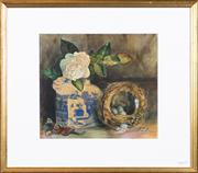 Sale 8298 - Lot 83 - F. E. Foster - Still life with birds nest 24 x 27cm