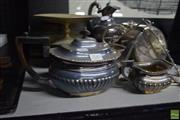 Sale 8563T - Lot 2585 - Collection of Plated Wares incl 3 Piece Tea Set, Biscuit Satchel, Jug & Comports
