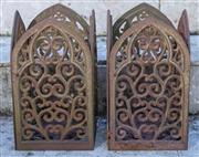 Sale 8568A - Lot 31 - A pair of cast iron lanterns with gothic style panels, H 31cm
