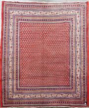 Sale 8728 - Lot 1071 - Persian Hussain-Abad Wool Carpet, with Mir-I-Boteh field in mostly red & blue tones (260 x 215cm)