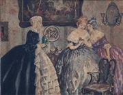 Sale 8838A - Lot 5074 - Artist Unknown - Ladies Socialising, c1850 18 x 24cm