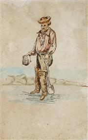 Sale 9001 - Lot 598 - Artist Unknown (New Zealand) - Panning For Gold 21.5 x 13.5 cm (frame: 43 x 38 x 3 cm)