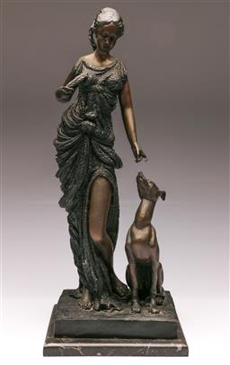Sale 9107 - Lot 32 - A Bronze Figure of A Lady and Hound (H 56cm)