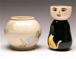 Sale 9114 - Lot 97 - An Australian studio potted vase (H:17cm) together with another (H:20cm)