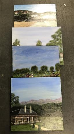 Sale 9113 - Lot 2062 - John Colbert (4 works) Chariot Race & NSW scenes, acrylic on canvas, various sizes, each signed -