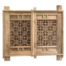 Sale 9245T - Lot 47 - A pair of old timber Chinese window shutters. Dimensions: H 10 x W 150 x D 90cm