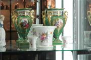 Sale 8022 - Lot 26 - Pair of French Green and Gilded Vases and 3 Royal Crown Derby Posy Vases