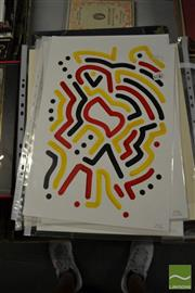 Sale 8441A - Lot 5042 - Jack Vigor (Street Artist, CASPER) (3 works) - Untitled (Black, Red, Yellow) 42.5 x 30cm, each