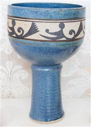 Sale 8346A - Lot 50 - A large studio pottery cup shaped footed bowl in blue glaze and abstract band by Renata DLambert, H 35cm