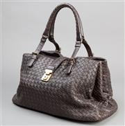 Sale 8541A - Lot 24 - A brown Bottega Veneta weave leather handbag with gilt metal clasp to the front, great condition, W 38cm