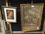 Sale 8771 - Lot 2076 - 2 works: French Roccoco Scene Hand-Coloured Engraving, plus a Botticelli Decorative Print -