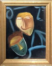 Sale 8861 - Lot 2062 - Kym Hart - Masked/Unmasked 1983oil on canvas board, 48 x 38cm, signed verso